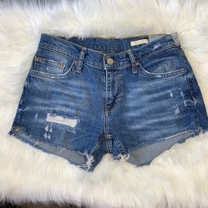 Zara Woman Distressed Denim Shorts Size 28X2